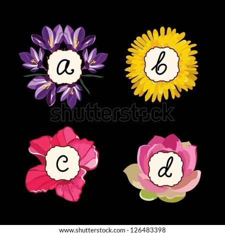 Hand drawn flower alphabet ,flower font - stock vector