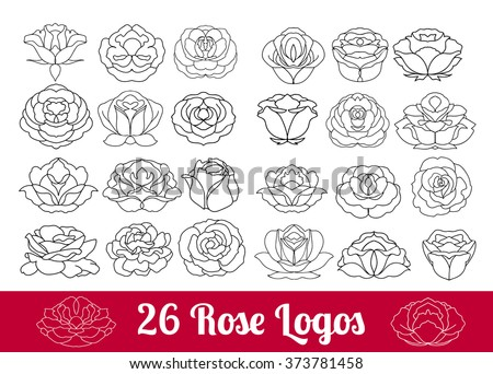 Hand drawn flower black silhouette and flat icon vector set, rose collection isolated on white background, rose logo, sign, symbol outline collection. Rose flowers huge design thin line modern icons  - stock vector