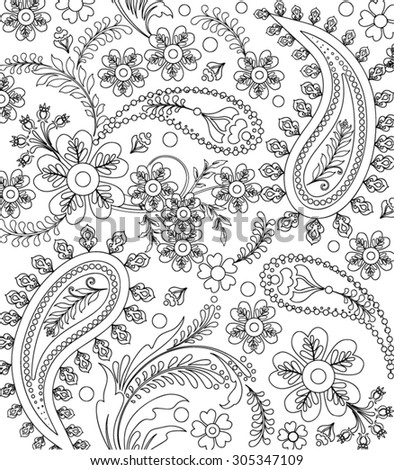 Hand Drawn Flower Coloring Page Stock Vector 305347109 Shutterstock