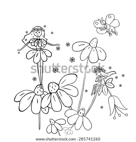 Hand drawn flower fairies on white daisies. Black and white vector illustration. - stock vector