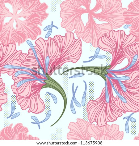 Hand drawn flower seamless pattern, EPS10 Vector background - stock vector