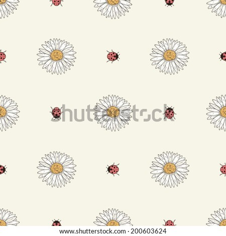 Hand drawn flowers and ladybirds seamless pattern. Colorful illustration. Vintage engraving style - stock vector