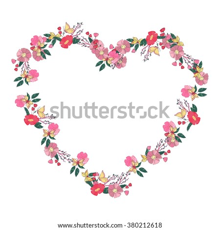 Hand drawn Flowers arranged un a shape of  heart. Wildflowers vector wreath - stock vector