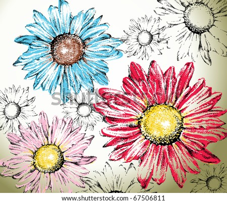 Hand drawn flowers background - stock vector