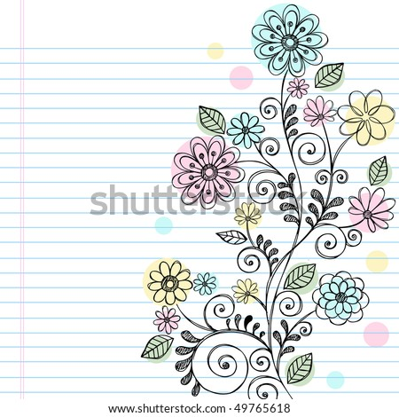 Hand-Drawn Flowers, Leaves, and Swirls Sketchy Notebook Doodles Vector Illustration on Lined Sketchbook Paper Background - stock vector