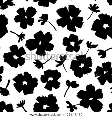 Hand drawn flowers - seamless pattern - stock vector
