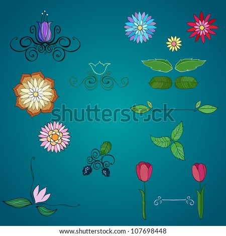 Hand-drawn flowers. vector illustration