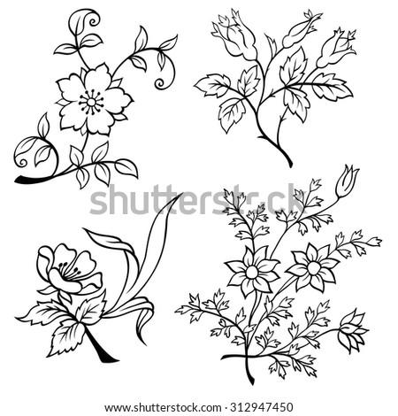 Hand drawn flowers vector set - stock vector
