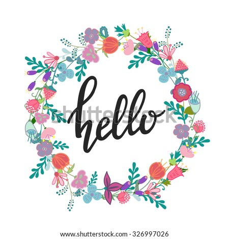 Hand Drawn Flowers Wreath Cute Colorful Vector For Postcard And Poster Modern Design