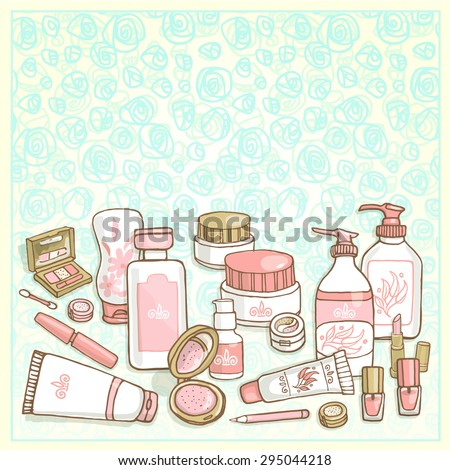 Hand drawn flyers template for make-up products. Doodle cosmetics background for corporate identity beauty shop. Printed materials for brochures, folder, flyers, banners. - stock vector