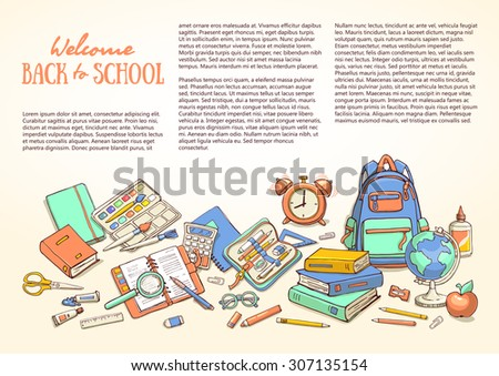 Hand drawn flyers template for school products. Doodle back to school background. Printed materials for brochures, folder, flyers, banners, leaflet. - stock vector