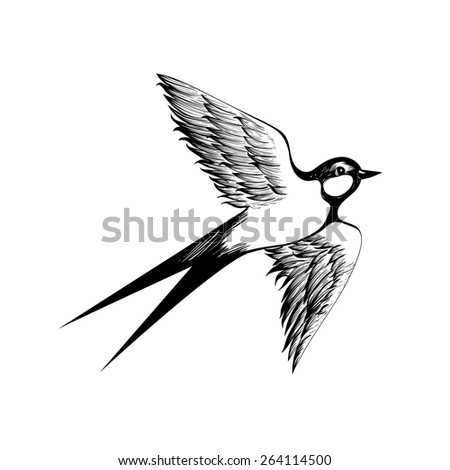 Hand drawn flying swallow silhouette. Vector illustration in doodle shading style. Engraving sketch for tattoos. Vintage bird collection. - stock vector