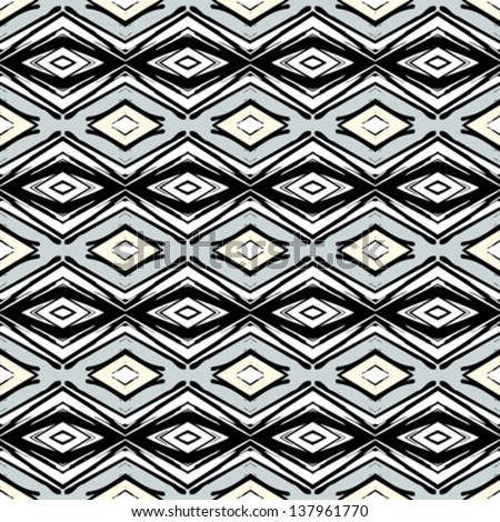 Hand drawn folk ethnic ornamented seamless pattern with thick black inked lines in art deco style. Texture background for web, print, home decor, textile, wrapping paper, wallpaper. - stock vector