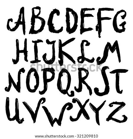 Watercolor Hand Drawn Alphabet Capitals Vector Stock Vector ...