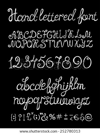 Hand Drawn Font Cursive Alphabet Numbers And Glyphs