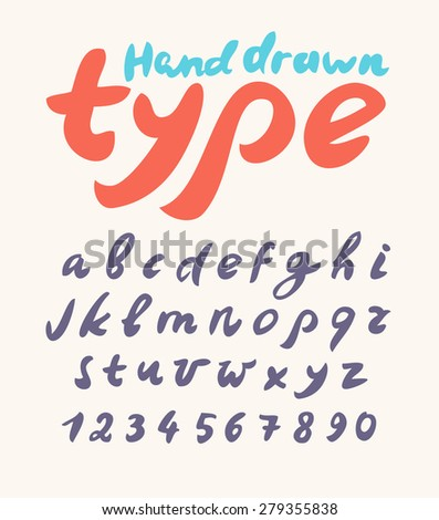 Hand drawn font. Handwritten alphabet letters and numbers.  - stock vector