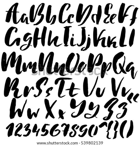 Hand Drawn Font Made By Dry Brush Strokes Grunge Style Alphabet Handwritten