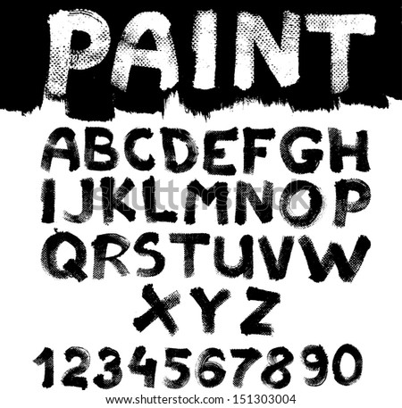 Hand-drawn font on textured paper with paint strokes - stock vector