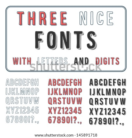 Hand Drawn Font Set. Handwriting Alphabet. ABC with Digits. Vector - stock vector