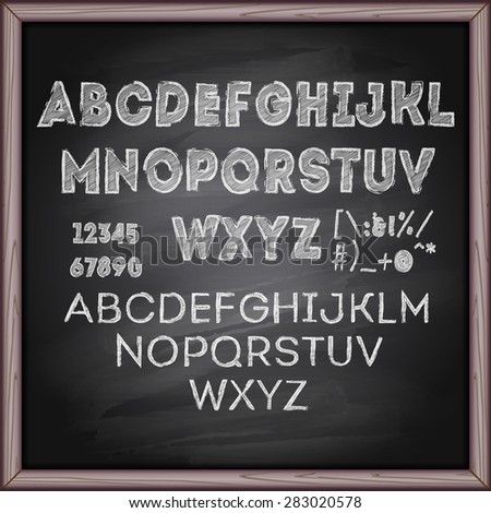 Hand drawn font with chalk on blackboard - stock vector