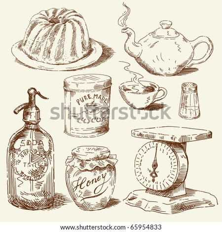hand drawn food collection - stock vector