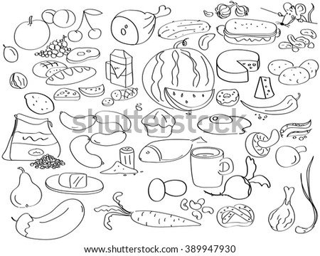 Hand drawn food collection in black and white. Fruit and vegetable icons. vector illustration   - stock vector
