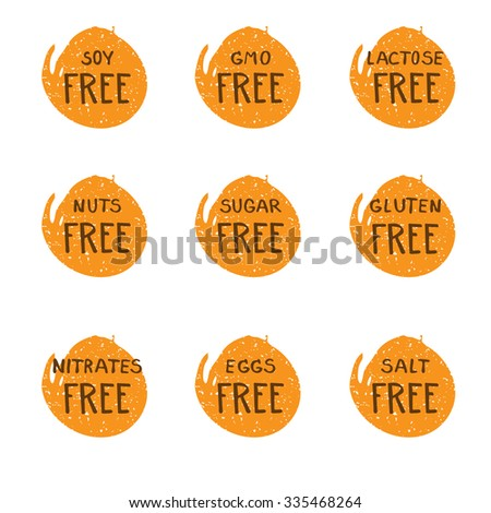 Hand drawn food dietary label set. Natural colors. Brown on orange round grunge splash background.