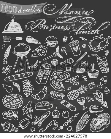hand-drawn food doodles on chalkboard - stock vector