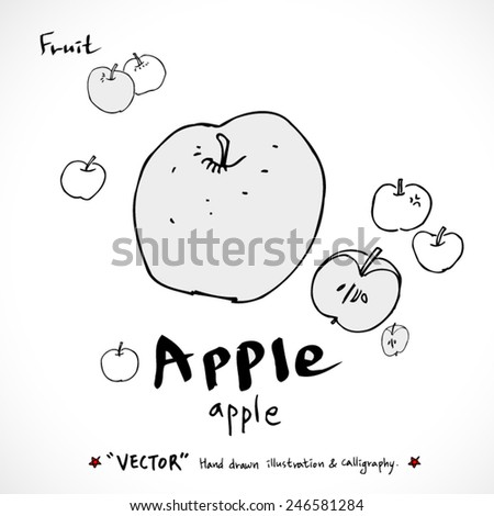 Hand drawn food ingredients - vegetable and fruit illustrations - vector - stock vector
