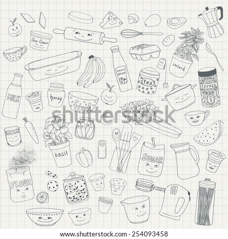 Hand drawn food items and kitchen utensils - stock vector