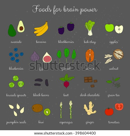 Hand drawn foods for brain power. Blackberry, brussels sprouts, artichoke, banana, salmon, ginger, tomato, kiwi, pumpkin seed, apple, blueberry, beet, green tea, bok choy. - stock vector