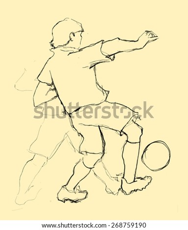 hand drawn football players. Vector - stock vector