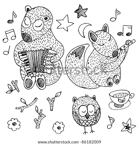 Hand-drawn forest animal doodle set in cartoon style - stock vector