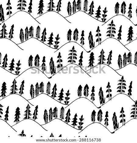 Hand drawn forest landscape pattern seamless in vector - stock vector