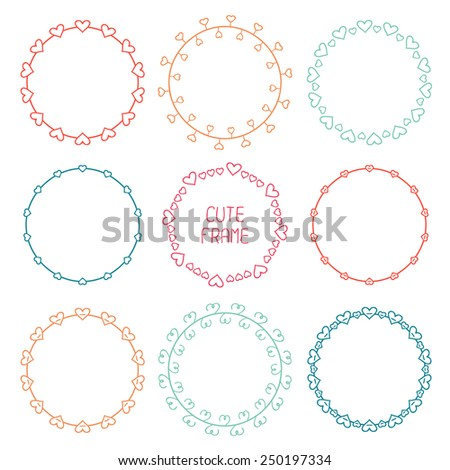 Hand drawn frame of pattern with hearts. Trendy doodle style. Vector set of valentine day vintage design elements. Beautiful simple illustration. - stock vector