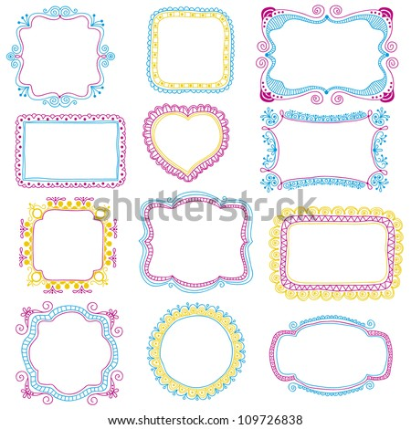 Hand-Drawn frames - stock vector