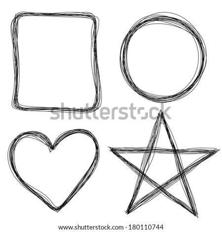 Hand drawn frames - stock vector
