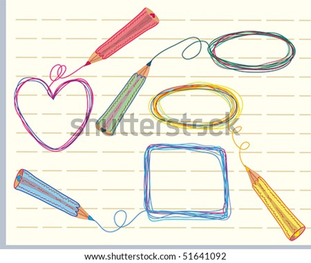 Hand drawn frames and pencils color doodle - stock vector