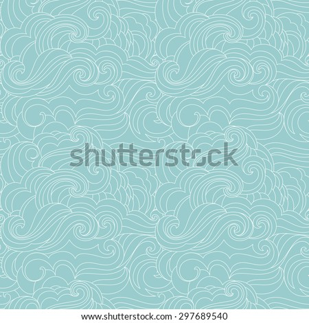 Hand drawn free style marine background. Vector abstract waves seamless pattern. - stock vector