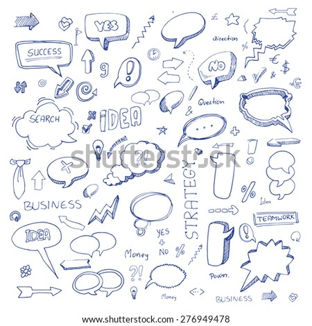 Hand drawn freestyle doodles, arrows and icons set, vector illustration - stock vector