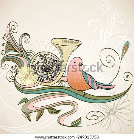 hand drawn french horn on a floral background - stock vector