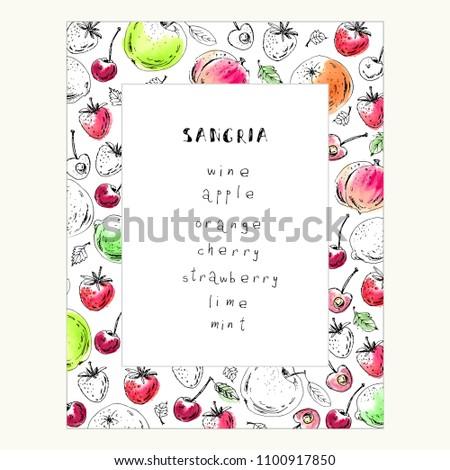 Hand Drawn Fruit Berry Frame Summer Stock Vector 1100917850 ...