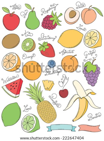 Hand Drawn Fruits - stock vector