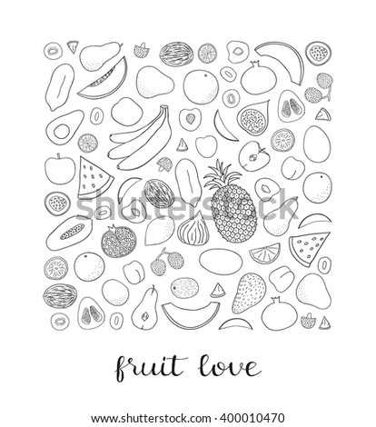 Hand drawn fruits in square shape. Pineapple, kiwi, grapefruit, banana, lemon, papaya, peach, lime, passionfruit, lychee, plum, watermelon, avocado, coconut. Can be used for prints, cards, posters - stock vector