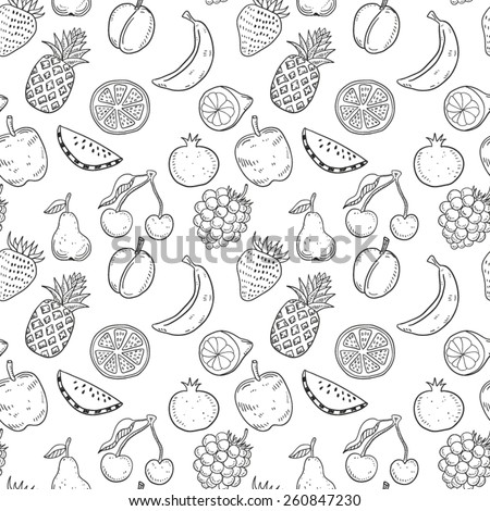 Hand drawn fruits seamless pattern - stock vector