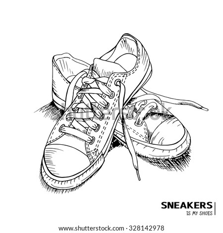 Hand drawn funky gumshoes skateboard fashion urban sneakers in black and white colors with title 'Sneakers is my shoes', vector illustration - stock vector