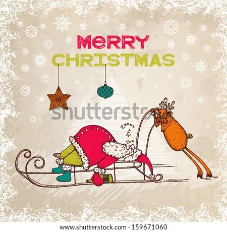 Hand drawn funny christmas illustration - stock vector