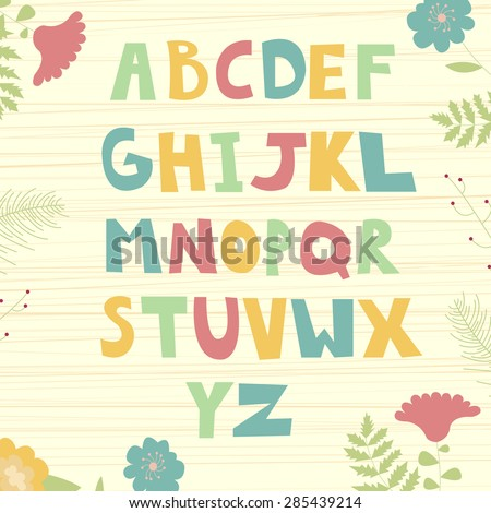 Hand-drawn funny vector alphabet