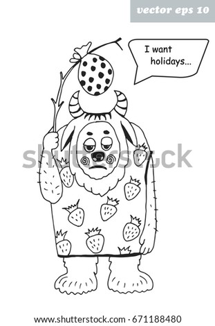 Hand Drawn Funny Yeti Graphic Illustration Isolated On White Background Element For Coloring