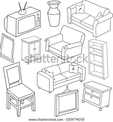 hand drawn furniture - stock vector